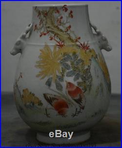 10Old Chinese Famille Rose Porcelain Sika Deer Head Handle Flower Bird Jar Vase