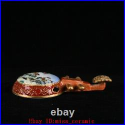 10.6 Old qianlong marked allite red colour enamels Porcelain flower bird lute
