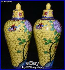 10 China Color Porcelain Peony Flower Magpie Bird Vase Bottle Flask Pot Pair