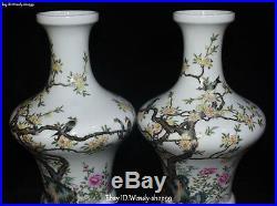 10 China Enamel Color Porcelain magpie Bird Plum Flower Vase Pot Pitcher Pair