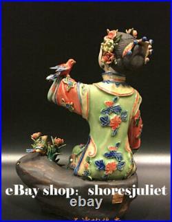 10 China Wucai Porcelain Pottery Beauty Belle Women Play Bird Flower Sculpture