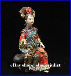 10 China Wucai Porcelain Pottery Classical Beauty Women Belle Lady Bird Flower