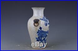 10 China antique Porcelain Qing kangxi blue & white flower and bird vase statue