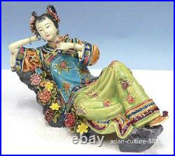 10 Chinese Shiwan Ceramic Wucai Porcelain Classical beauty Lady Flower Figurine