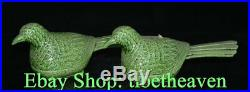 10 Marked Old Chinese Green Glaze Porcelain Palace Pigeon Bird Tank Statue Pair