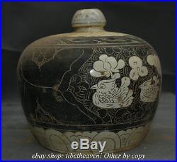 10 Old China Cizhou kiln Porcelain Dynasty Mandarin Muck Bird Pot Crock Vase
