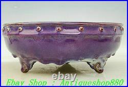 10 Old China Dynasty Jun Kiln Porcelain 3 Leg Pen wash writing-brush washer