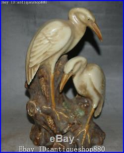 10 Old China Wucai Porcelain Longevity Crane Bird Pen Holder Brush Pot Statue