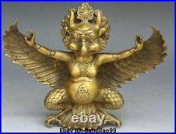 10 Tibet Buddhism Bronze Redpoll Winged Garuda Bird Eagle God Buddha Statue