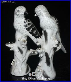 10 Unique China Color Porcelain magpie Bird Tree Trunk Flower Statue Pair