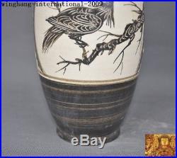 11Rare Chinese Jizhou kiln porcelain flower bird Zun Bottle Pot Vase Jar Statue