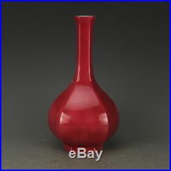 11 China antique Porcelain yongzheng Carmine flower and bird Dan vase statue