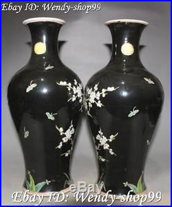 11 Chinese Porcelain Plum Blossom Bird Birds Flower Vase Bottle Pair Statue
