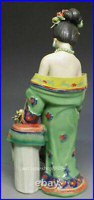 11 Chinese Wucai Porcelain Classical beauty Belle Girl Yang Yuhuan Statue