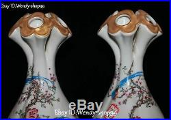 11 Enamel Porcelain Peony Flower Magpie Bird Five Orifice Vase Botter Jar Pair