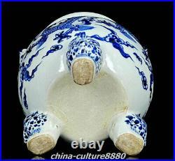 11 Marked Blue White Porcelain Dynasty Lion Dragon 3 Legs Incense Burner Censer