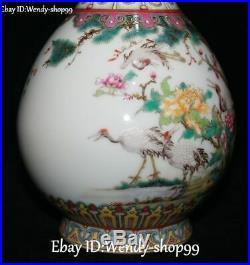 11 Old Enamel Color Porcelain Ruyi Cranes Bird Tree Plum Flower Pot Bottle Vase