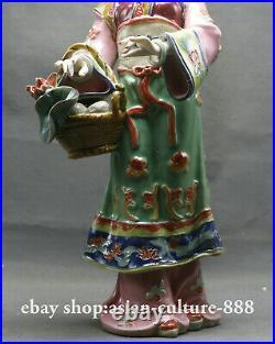11 Rare Chinese Wucai Porcelain Classical beauty Belle Girl XI SHI Statue