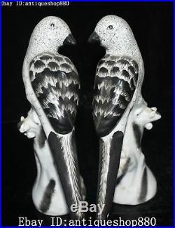 11 Unique China Color Porcelain Auspicious Tree Magpie Bird Animal Statue Pair