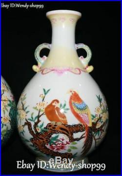 11 Unique Emerald Color Porcelain Magpie Bird Flower Tree Pot Vase Bottle Pair