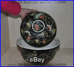 11old china chinese wucai Porcelain Peacock bird flower statue Zun bowl pot Cup