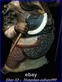 12Old China Shiwan Porcelain Door-God General Door God Immortal Pair Statue