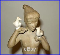 12.5 Johannes Hedegaard Royal Copenhagen Glazed Stoneware Woman w Birds Statue