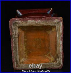 12.7 Yongzheng Marked Old Chinese Jun kiln Porcelain Square Botte Vase Pair