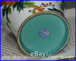 12.8 Mark China Pastel Porcelain Hand Drawing Flower Parrot Bird Bottle Vase