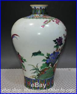 12.8 Marked China Pastel Porcelain Hand Drawing Flower Parrot Bird Bottle Vase