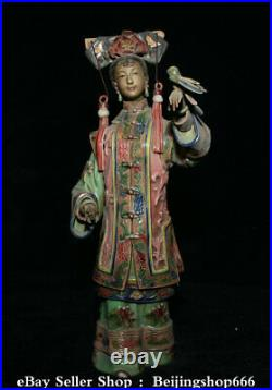 12.8 Marked Chinese Wucai Pottery Porcelain Dynasty Belle Beauty Bird Statue