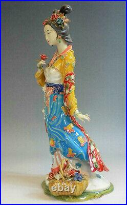 12 China Wucai Porcelain Pottery Classical Beauty Belle Noble Women Sculpture