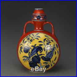 12 China antique Porcelain xuande blue & white flowers and birds vase statue D2