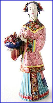 12 Chinese Ceramic Lady Pottery Porcelain Beautiful Women Girl Flower Figurine