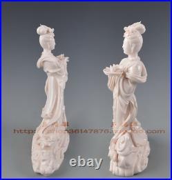 12 Chinese Dehua Porcelain Belle Beauty Girl Phoenix Bird Fruit Plate Statue