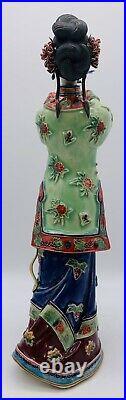 12 Chinese Wucai Porcelain Classical Beauty Woman Dove Bird Long Life Figurine