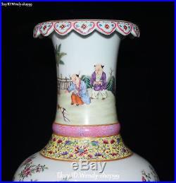 12 Enamel Color Porcelain Tongzi Tree Bird Peony Flower Vase Bottle Flask Pot