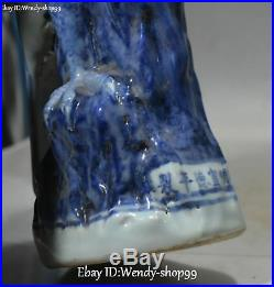 12 Marked Chinese White Blue Porcelain Magpie Bird Animal Tree Statue Pair