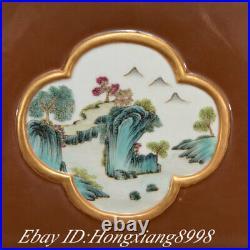 12 Qianlong Marked Sauce Glaze Famille rose Porcelain Square Bottle Vase Pair