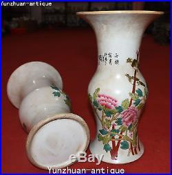 12 Unique China Porcelain Flower Bird Vase Pitcher Bottle Kettle Statue Pair