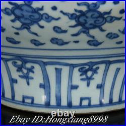 13.3 Antique Old Chinese Blue White Porcelain Dynasty Dragon Tank Pot Crock