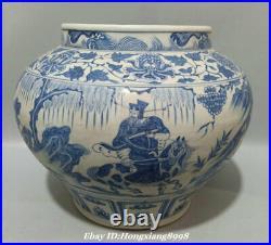 13.5 Old China Blue White Porcelain Dynasty Palace Guiguzi Crock Tank Pot