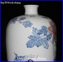 13 China Color Porcelain Tree Peony Flower Phoenix Crane Bird Vase Bottle Jar