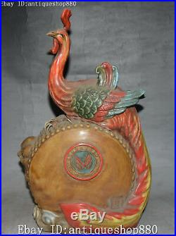 13 China Old Wucai Porcelain Wealth Phoenix Fenghuang Bird Drum Drums Statue