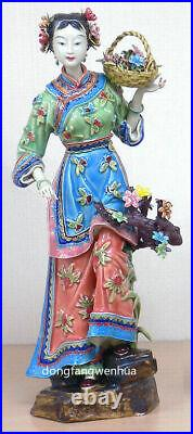 13 Chinese Ceramic Wucai Porcelain Ancient Beauty Woman Girl Flower Figurine A
