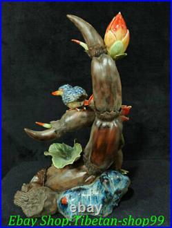 13 Chinese Shiwan Wucai Porcelain Fengshui Lotus Root Flower Bird Sculpture