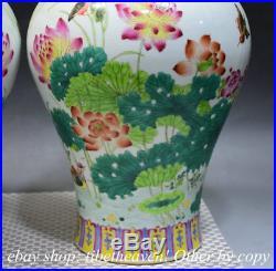 13 Marked Chinese Pastel Porcelain Hand Drawing Lotus Bird Bottle Vase Pair