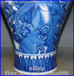 13 Marked White Blue Enamel Porcelain Magpie Bird Flower Vase Bottle Jar Statue