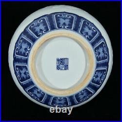 13 Qing Yongzheng Marked Blue White Porcelain Dragon Flower Bird Vase Bottle