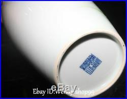13 Rare Enamel Color Porcelain Cranes Bird Bamboo Vase Bottle Pot Pitcher Pair